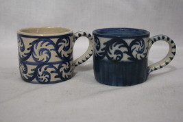 """Pair of 2 DORCHESTER POTTERY Hand Painted Blue FIDDLEHEAD SCROLL 3"""" Coff... - $59.99"""