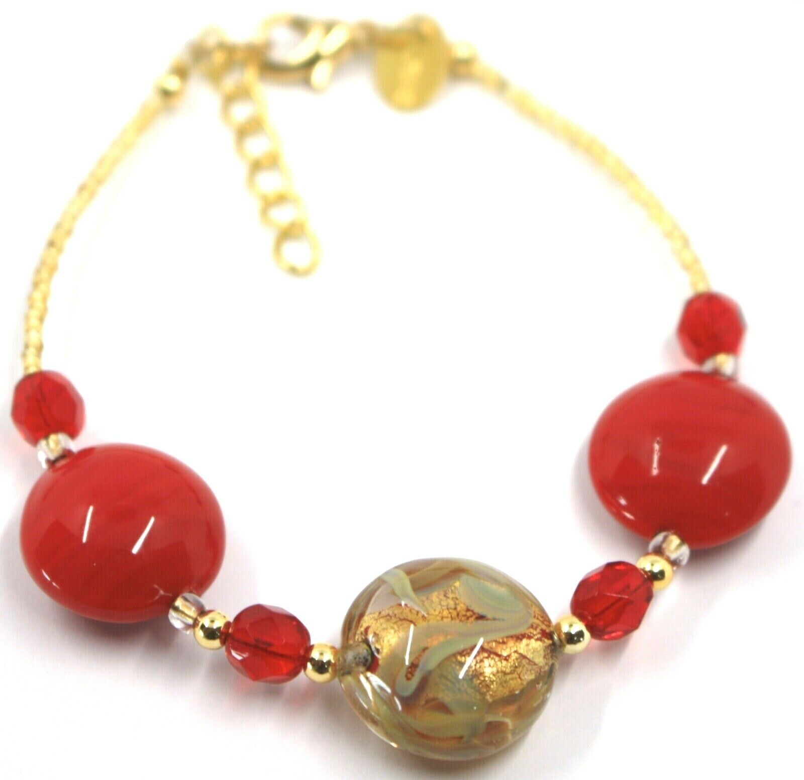"""BRACELET RED YELLOW MURANO DISC GLASS & GOLD LEAF, MADE IN ITALY, 19cm, 7.5"""""""