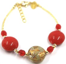 """BRACELET RED YELLOW MURANO DISC GLASS & GOLD LEAF, MADE IN ITALY, 19cm, 7.5"""" image 1"""