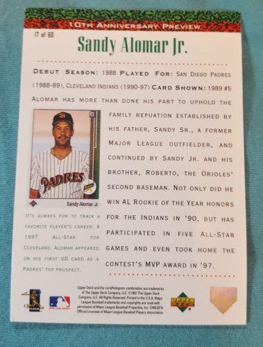 1998 Upper Deck 10th Anniversary Preview Baseball Card #17 Sandy Alomar Jr.