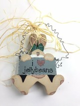 Wooden Easter Bunny I ❤️ Jellybeans Hanging Sign Spring Decoration Wood - $12.77