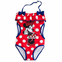 Disney Store Girls Minnie Mouse Summer Sparkler One-Piece Swimsuit, Red/... - $23.50