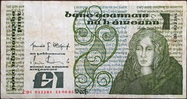 IRELAND BANKNOTE - 1 POUND - YEAR 1985 - MEDB, QUEEN OF CONNACHT - FREE ... - $30.00