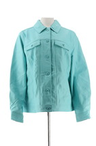 Denim & Co Lamb Leather Jean Jacket Light Turquoise XL NEW A272640 - $139.57