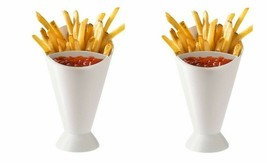 French Fries Dipping Cone Ketchup Dipper Veggie Holder and Server Set of 2 - $9.89