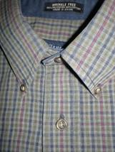 Van Heusen Mens Dress Shirt Cotton Green Plaid 15-15 1/2 Medium WrinkleFree - $12.95