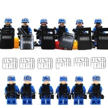 Navy Military Army 6 Soldier With Weapon Shield Fit Lego Minifigure Chri... - $14.99
