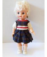 "VTG Molly Soft Vinyl Curly Hair Sleepy Blye Eyes Doll 11"" dress shoes ea... - $34.65"