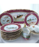 c1890 T&V Limoges 15pc Fish Set Gravy Platter 12 Plates Hand Painted Porcelain - $3,464.75