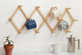 Expanding Wall Rack Storage Wood Hanging Hooks Coffee Mug Cup Holder Hat... - $21.46