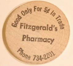 Vintage Wooden Nickel Fitzgerald Pharmacy - $5.93
