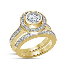 Diamond Wedding Womens Halo Engagement Bridal Ring Set 925 Sterling Solid Silver - $91.99