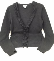 Ann Taylor Loft Cardigan Sweater Size Medium Gray Button Down Ruffle Womens - $11.83