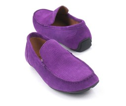 New Alfani Plum Purple Woven Suede Driver Mocc ASIN S Kendric Loafers Shoes 10 - $24.74