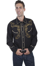 Men's Western Shirt Black Long Sleeve Rockabilly Country Cowboy Long Hor... - $87.38