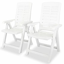 vidaXL 2x Reclining Garden Chairs Plastic White Outdoor Chair Bistro Chair - $103.99