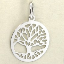 18K WHITE GOLD TREE OF LIFE ROUND FLAT PENDANT CHARM, 1.0 INCHES MADE IN ITALY  image 1