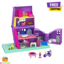 Polly Pocket Pollyville Doll House Playset with 10+ Accessories Purple Best Gift - $25.97