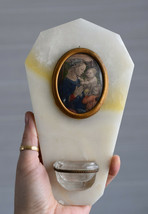 ⭐ vintage onyx holy water font ,with religious picture,image - $49.00