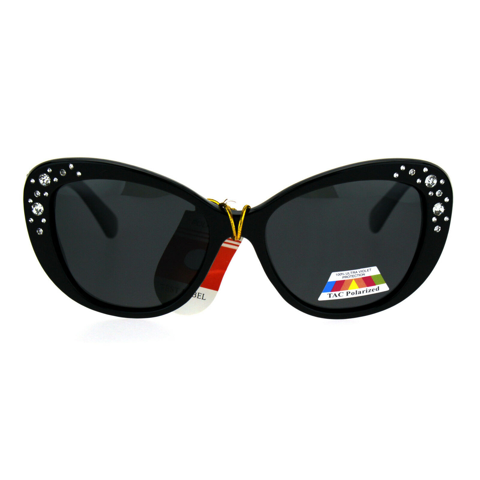 Antiglare Polarized Rhinestone Bling Thick Plastic Cat Eye Diva Sunglasses