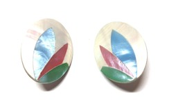 Mother of Pearl White Rose Green and Blue Vintage Earrings - $15.29