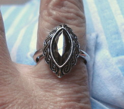Avon RING Antique Style Faux HEMATITE Marquise Silver adjustable siz 8 V... - $19.75
