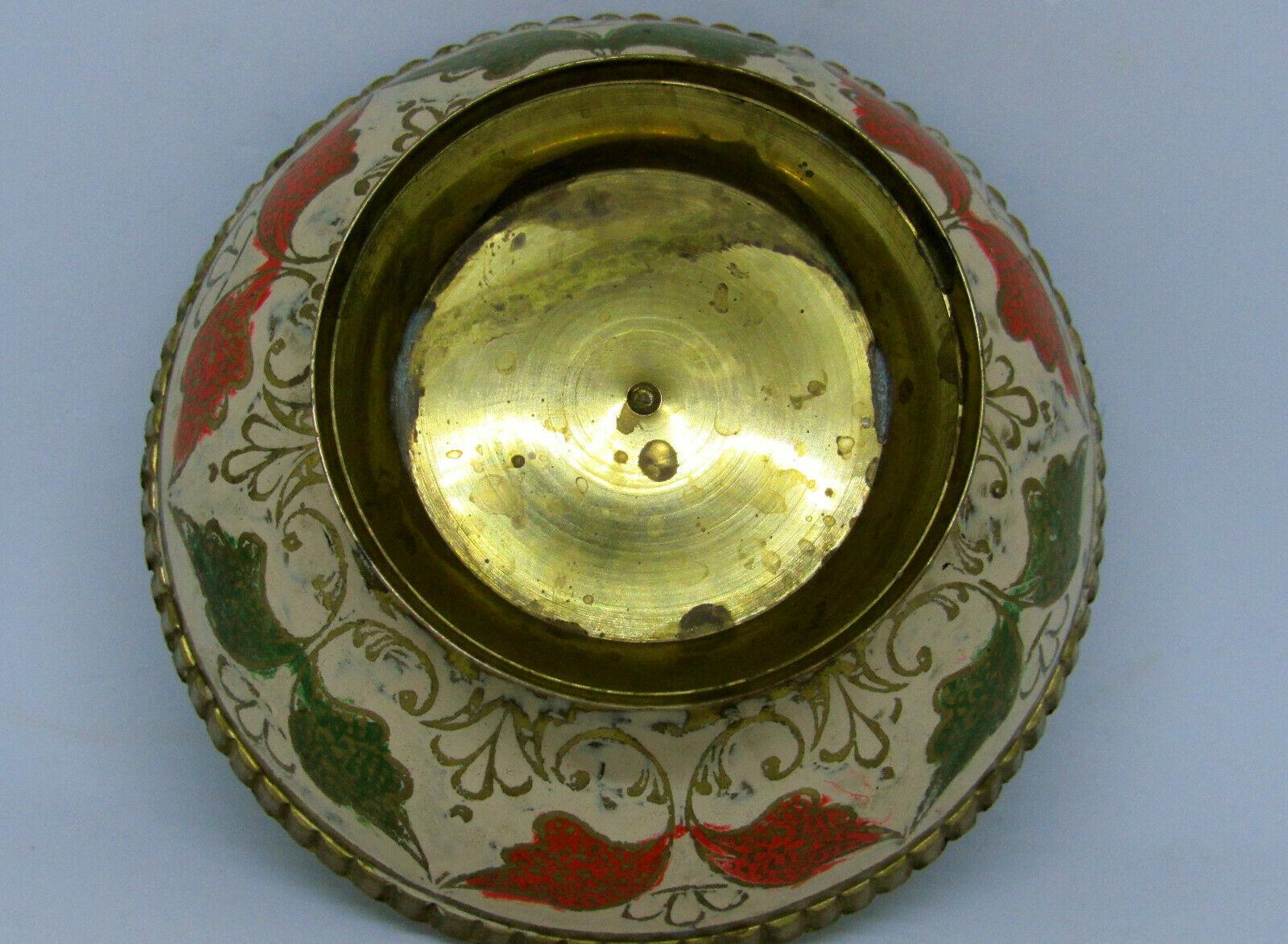 Vintage Brass Ornate Peacock Enameled Bowl on Pedestal image 7
