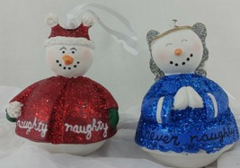 Snowman XMAS Tree Ornaments Angel Devil Naughty Never White Red Halo EVC... - $6.99