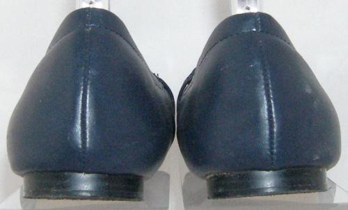 Ann Taylor blue man made round toe chain accent slip on scrunch flats 8M