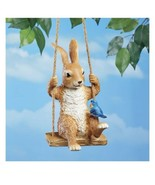 Bunny Rabbit And Bluebird Buddy On A Swing Statue Figure Hangs On A Rope... - $148.49