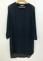 Soft Surroundings Tunic Top Blouse Womens Small Black Sheer Sleeve EUC A... - $33.78