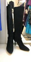Stuart Weitzman Black Suede Leather Slim Heeled Tall Boots Sz Us 9 - $265.71