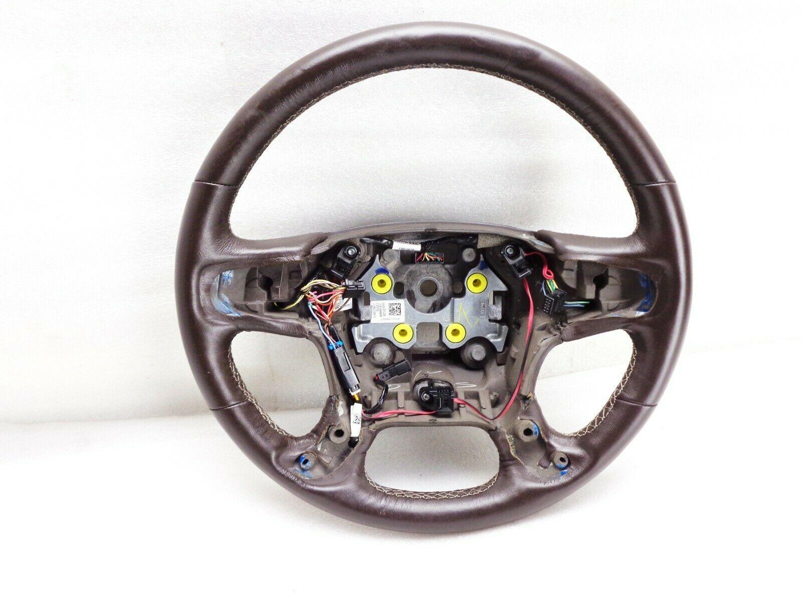 2016-2017-2018-2019 GMC Yukon Denali Steering Wheel Brown Leather Original OEM - $59.95