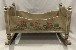 """Vintage Antique Wood Doll Cradle Bed Hand Painted Folk Art Decorated 20.5"""" - $148.49"""