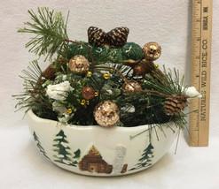 Ceramic Planter Basket w/ Artificial Flower Arrangement Christmas Winter... - $17.81