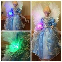 "12"" FIBER OPTIC LIGHT UP BLUE DRESS CHRISTMAS  ANGEL TREE TOPPER TABLE TOP - $23.38"