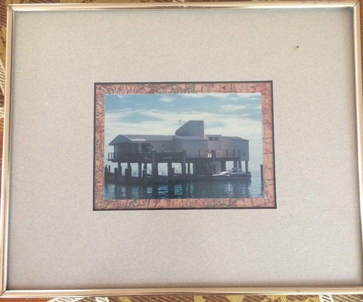 STILLTSVILLE PHOTOGRAPH in color matted & framed.  Key Biscayne Bay stilts home