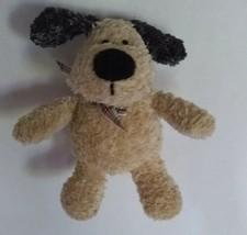 "Gund Puppy Dog Beanbag Plush Stuffed Toy 7"" Tan Black Plaid Bow - $13.36"