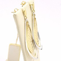 BOUCLES D'OREILLES PENDANTES OR JAUNE BLANC 750 18K,TRIPLE GOUTTE,MADE IN ITALY image 2
