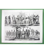 ROMAN ARMY Slinger Lancer & Allies -1844 SUPERB Antique Print Engraving - $16.84