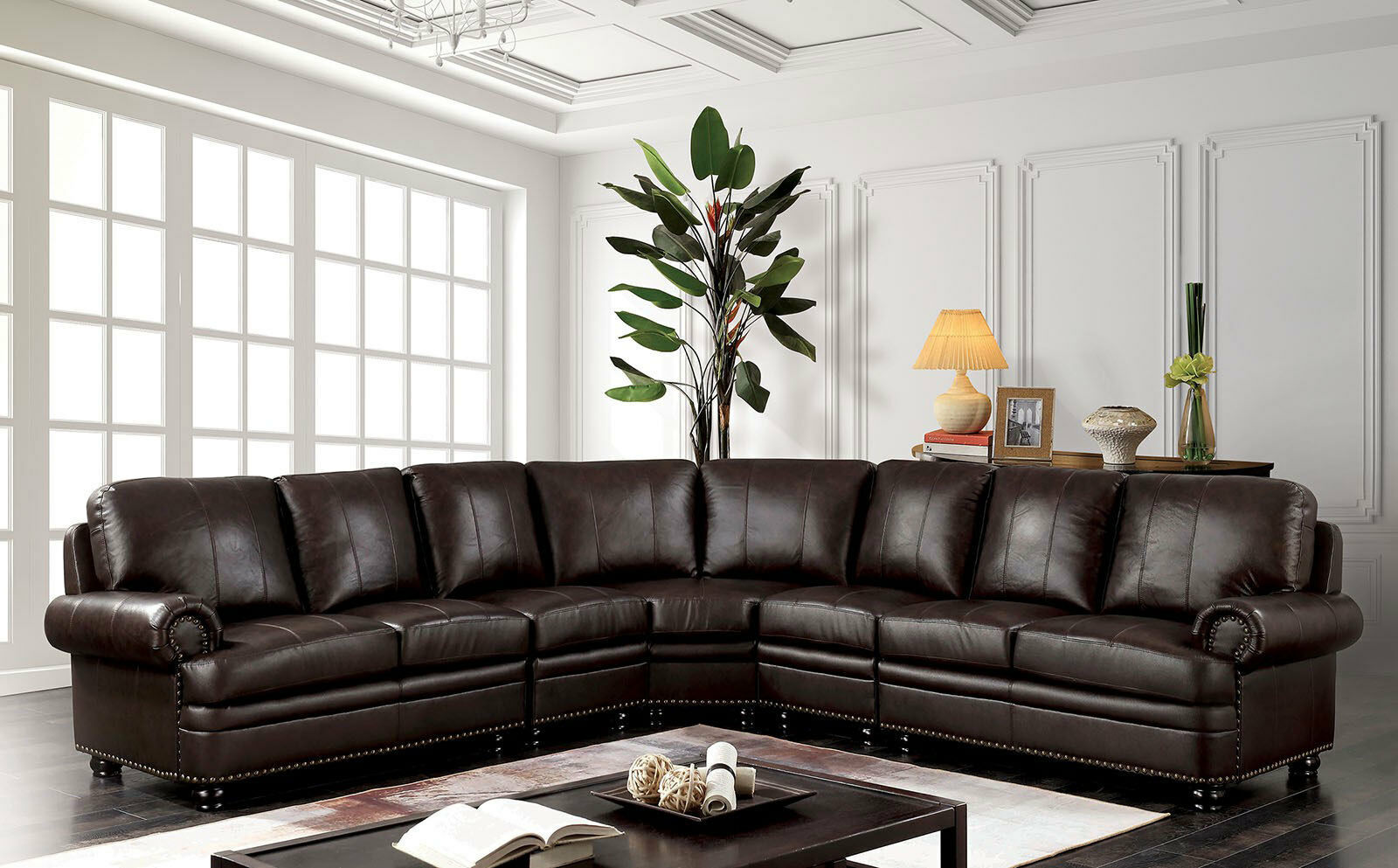 New Torrance Large Living Room Furniture Brown Leather