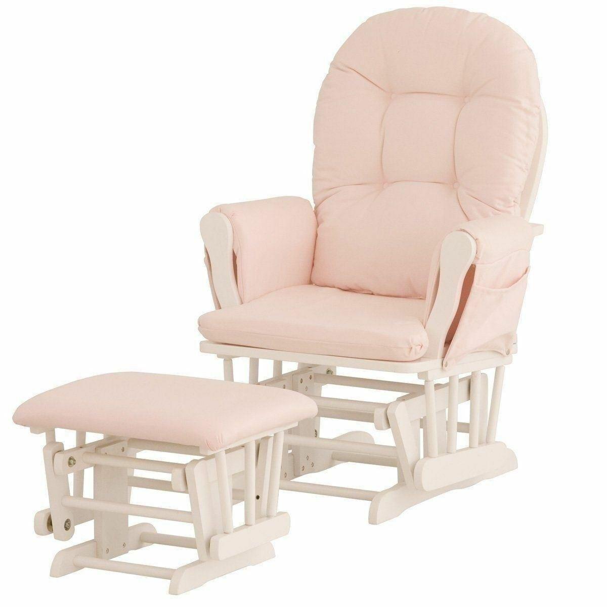 Nursery Glider Ottoman Set White Wooden Frame Pink