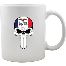 Original Iowa State Flag Molon Labe Skull Mug - $12.99