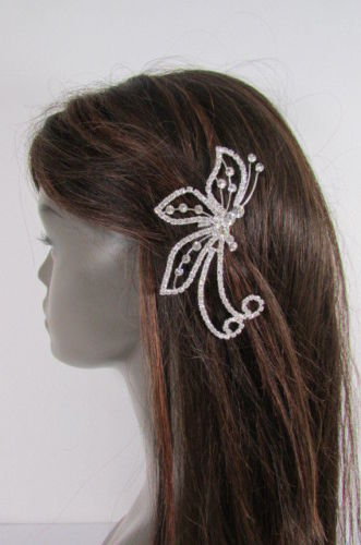 Women Silver Metal Head Fashion Jewelry Butterfly Hair Pin Bridal Wedding Party image 11