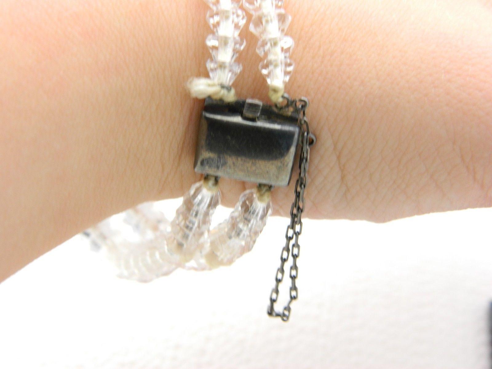 VTG Sterling Silver .925 Clear Cut Crystal Beaded Art Deco Bracelet