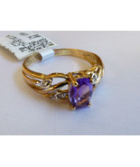 GENUINE 0.7 CTW OVAL CUT AMETHYST & DIAMOND 10K GOLD RING BAND Size 6.5 NWT - $148.50