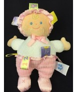 """TAGGIES Pink Plush Girl Soft Baby Doll with Ribbon Loops Mary Meyer 8"""" - $13.50"""