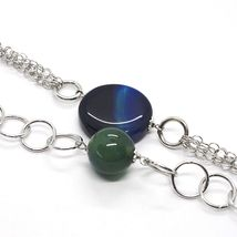 925 Silver Necklace, Agate Blue Striated with Locket Pendant, 55 cm image 4
