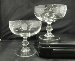 Princess House Margarita Glasses Crystal Etched Glassware Set of 2 - $24.99