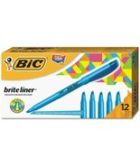 NEW 12 Pack Bic Brite Liner Highlighter Chisel Tip Fluorescent Blue Ink - $8.45